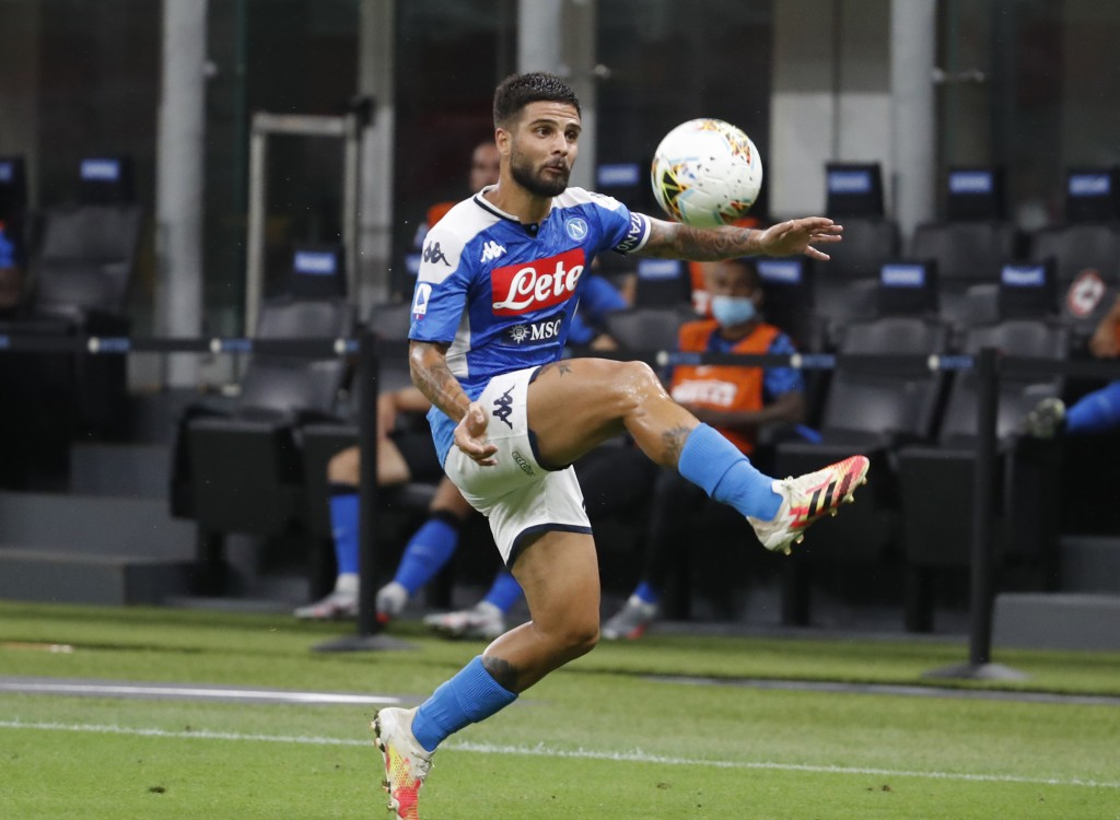 Napoli's Lorenzo Insigne, controls the ball during the Serie A soccer match between Inter Milan and Napoli at the San Siro Stadium, in Milan, Italy, T...