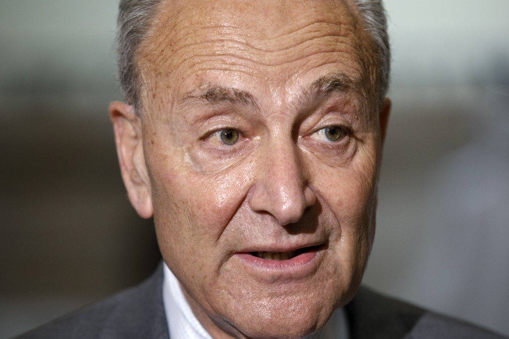 Senate Minority Leader Sen. Chuck Schumer of N.Y., speaks to the media, Tuesday, July 28, 2020, on Capitol Hill in Washington. (AP Photo/Jacquelyn Mar...