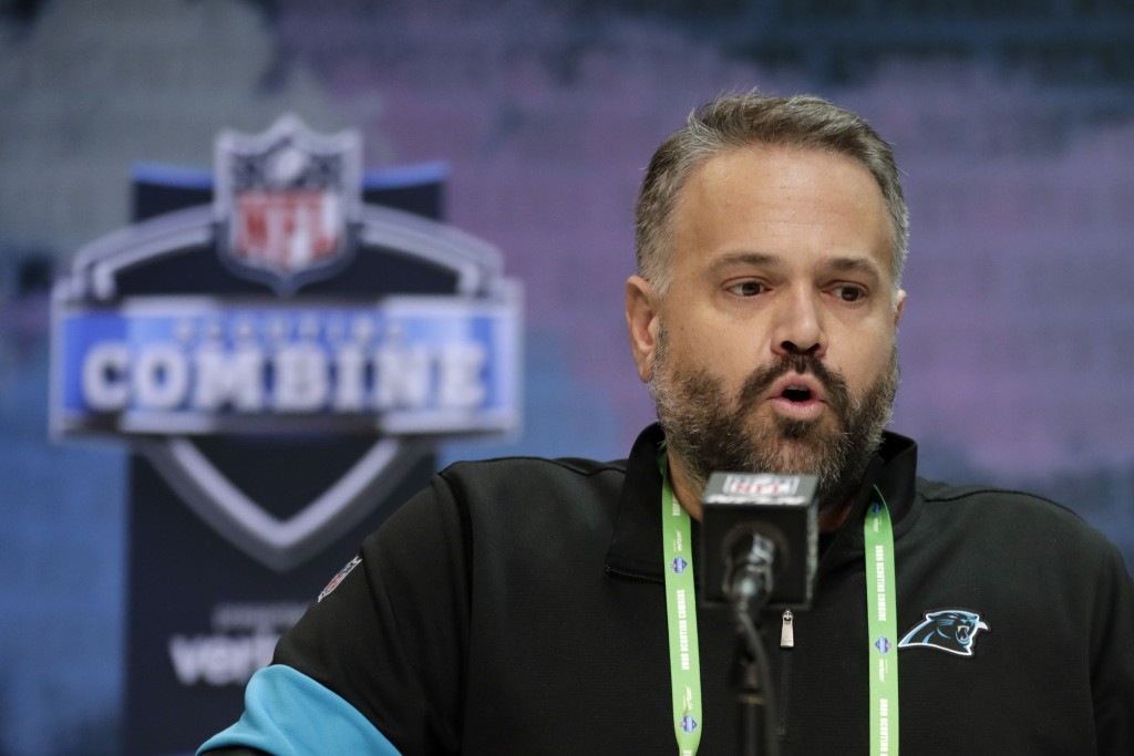 FILE - In this Feb. 25, 2020, file photo, Carolina Panthers head coach Matt Rhule speaks during a press conference at the NFL football scouting combin...