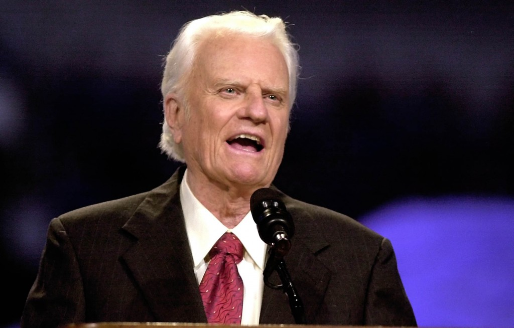FILE - The Rev. Billy Graham speaks during the Mission Metroplex at Texas Stadium in Irving, Texas, in a Thursday, Oct. 17, 2002 file photo. A North C...