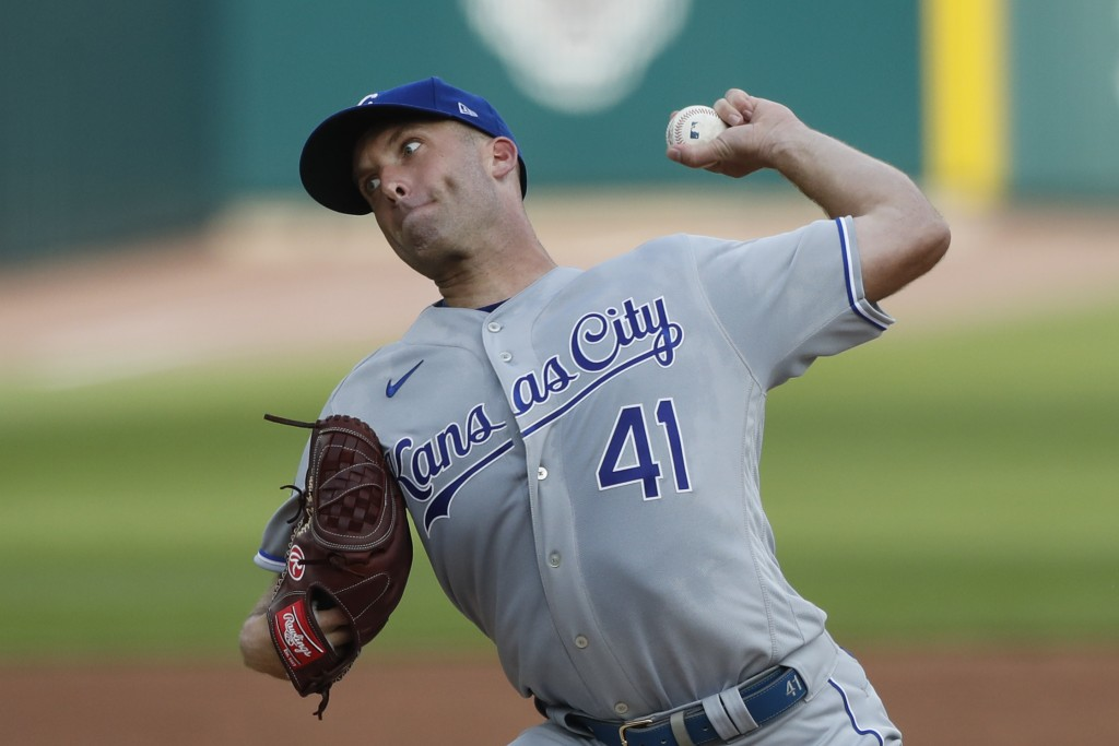 Kansas City Royals starting pitcher Danny Duffy throws during the first inning of a baseball game against the Detroit Tigers, Wednesday, July 29, 2020...