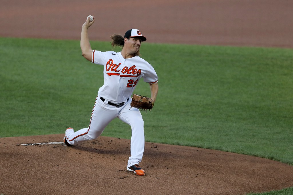 Baltimore Orioles starting pitcher Asher Wojciechowski throws to the New York Yankees during the first inning of a baseball game, Wednesday, July 29, ...