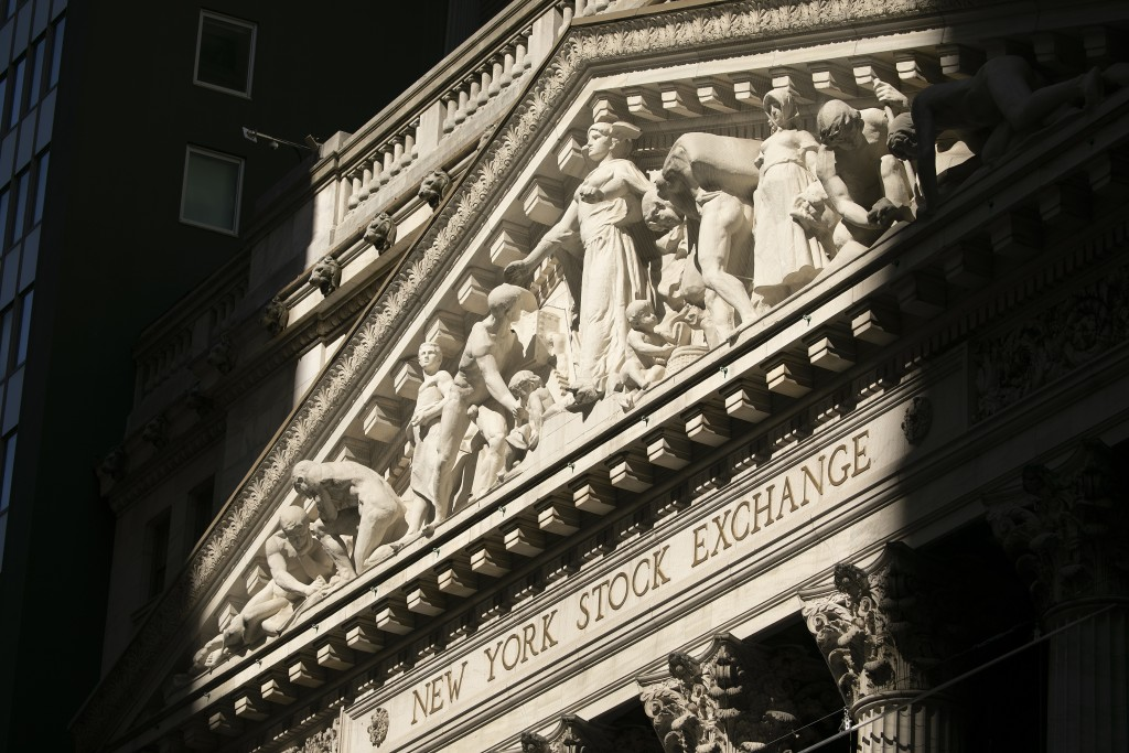 The New York Stock Exchange is shown, Tuesday, July 21, 2020. Stocks are holding on to their gains, Wednesday, July 29,  on Wall Street after the Fede...