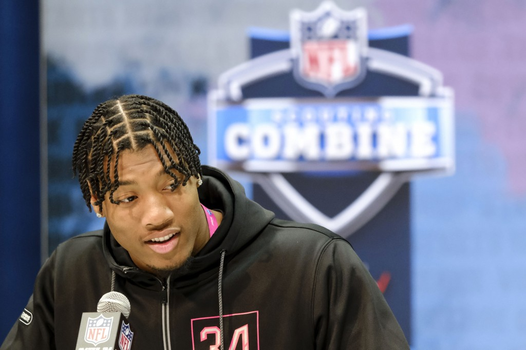 FILE - In this Feb. 27, 2020, file photo, Clemson linebacker Isaiah Simmons speaks during a press conference at the NFL football scouting combine in I...
