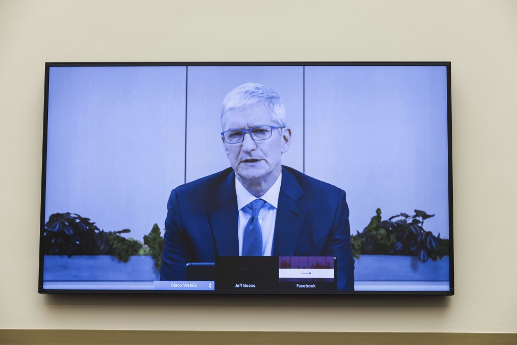 Apple CEO Tim Cook speaks via video conference during a House Judiciary subcommittee hearing on antitrust on Capitol Hill on Wednesday, July 29, 2020,...