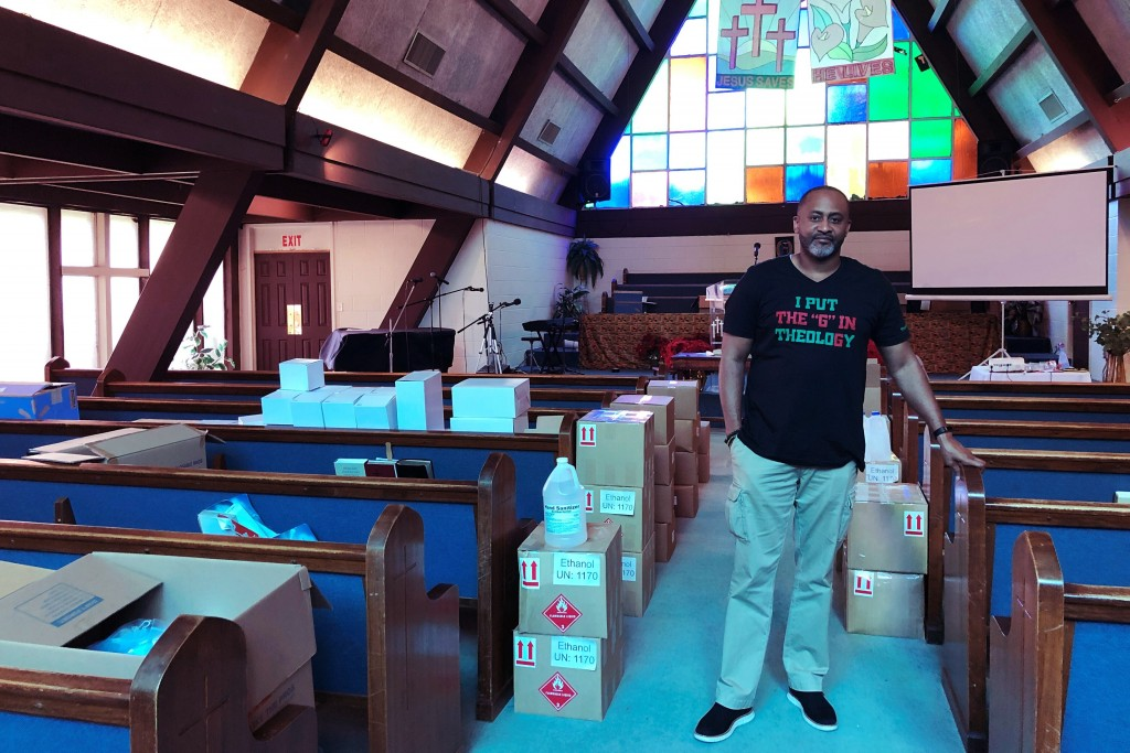 Earle Fisher, a pastor and civil rights activist, poses inside Abyssinian Missionary Baptist Church on Sunday, July 12, 2020, in Memphis, Tenn. Fisher...