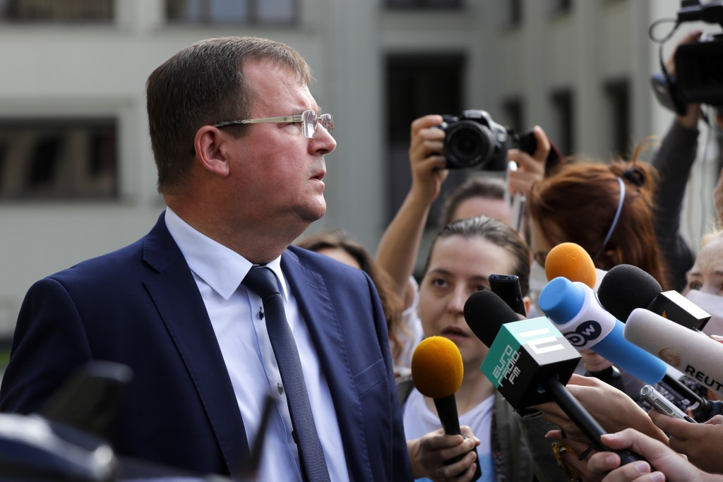 CORRECTING COUNTRY TO BELARUS - Andrei Ravkov, the head of State Secretary of the Security Council of Belarus speaks to the media in Minsk, Belarus, T...