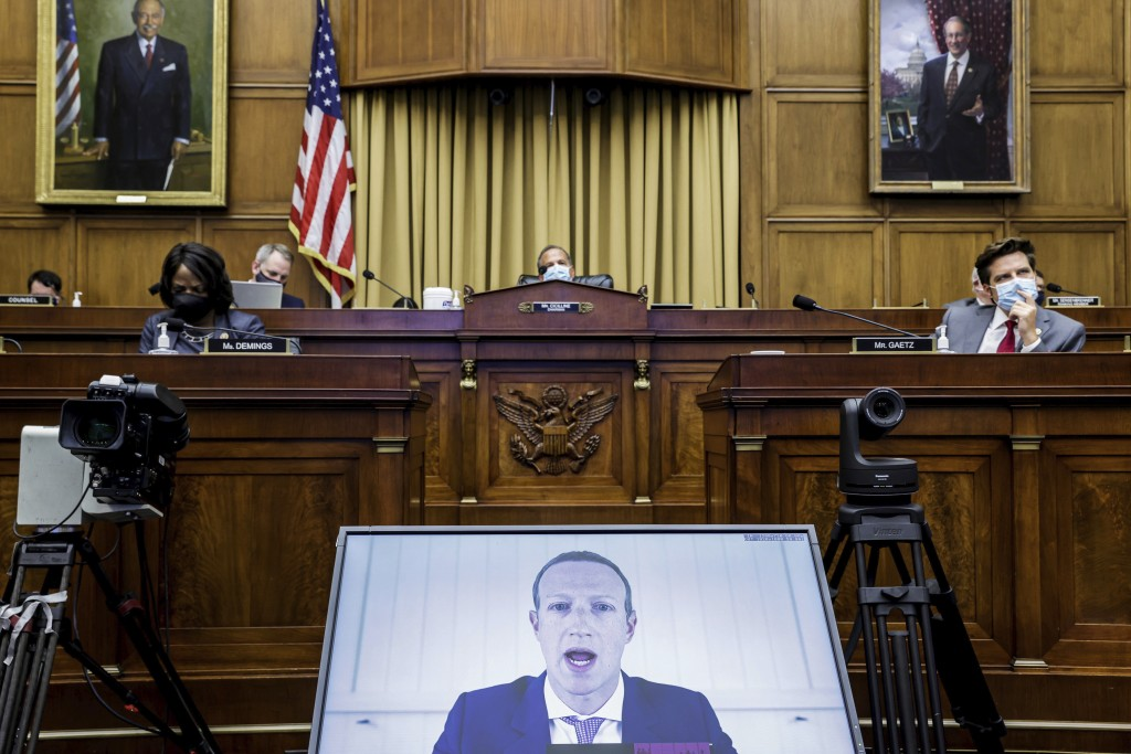 Facebook CEO Mark Zuckerberg speaks via video conference during a House Judiciary subcommittee hearing on antitrust on Capitol Hill on Wednesday, July...