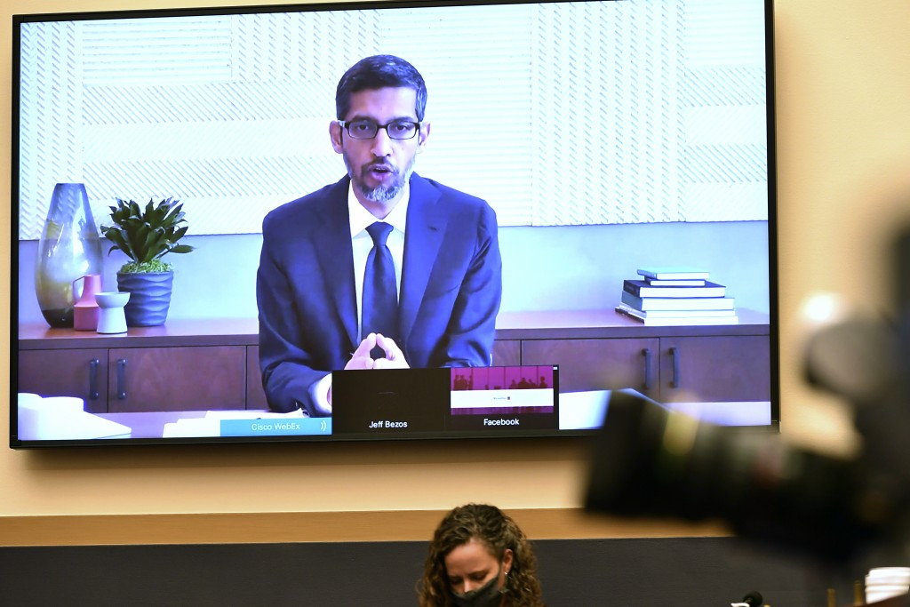 Google CEO Sundar Pichai testifies remotely during a House Judiciary subcommittee hearing on antitrust on Capitol Hill on Wednesday, July 29, 2020, in...
