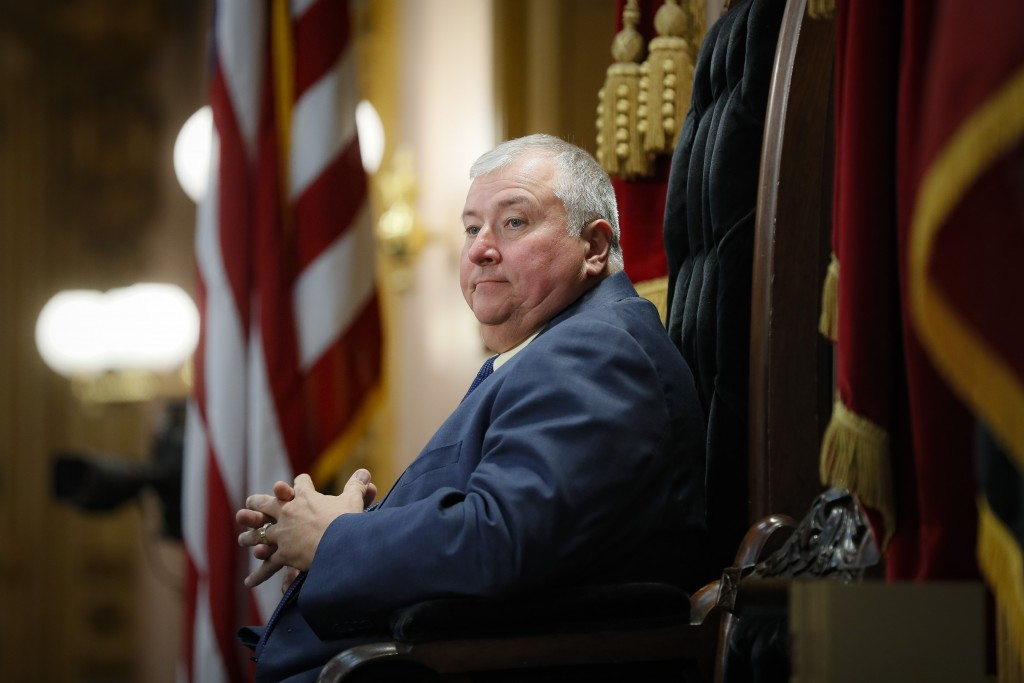 FILE - In this Wednesday, Oct. 30, 2019, file photo, Republican Ohio state Rep. Larry Householder, of District 72, sits at the head of a legislative s...