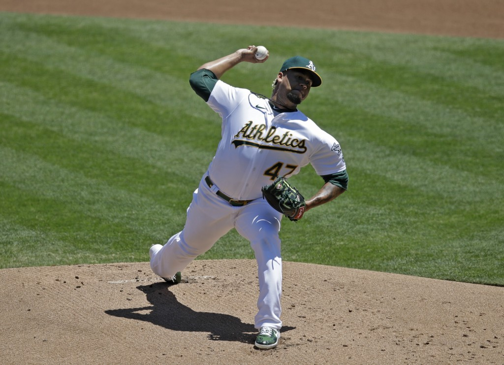 Oakland Athletics pitcher Frankie Montas works against the Colorado Rockies in the first inning of a baseball game Wednesday, July 29, 2020, in Oaklan...