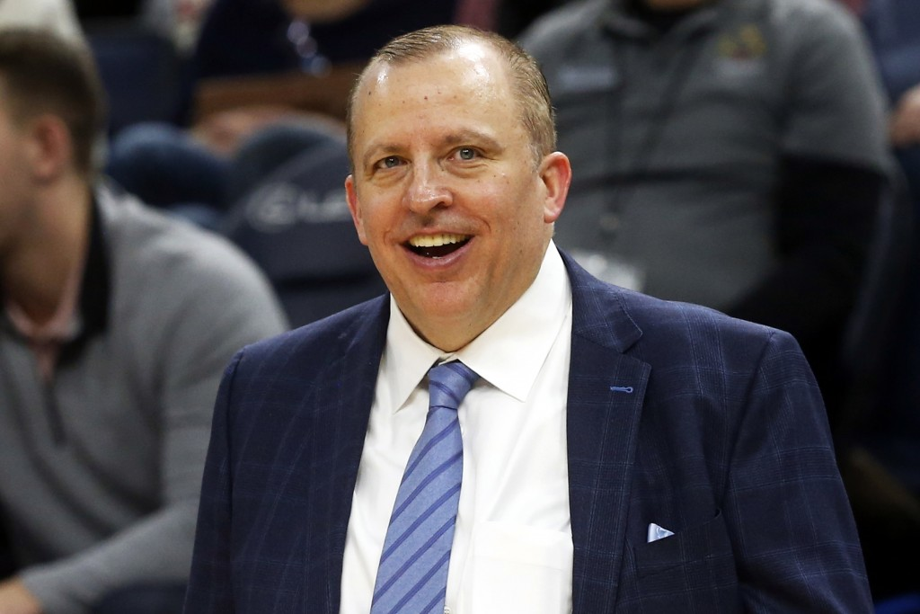 FILE - In this Jan. 4, 2019, file photo, Minnesota Timberwolves head coach Tom Thibodeau smiles in the waning moments as his team defeats the Orlando ...