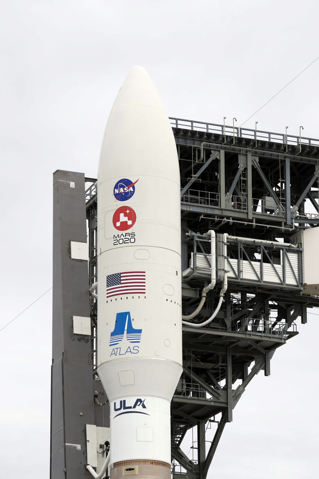 A United Launch Alliance Atlas V rocket stands ready for launch on pad 41 at the Cape Canaveral Air Force Station Wednesday, July 29, 2020, in Cape Ca...