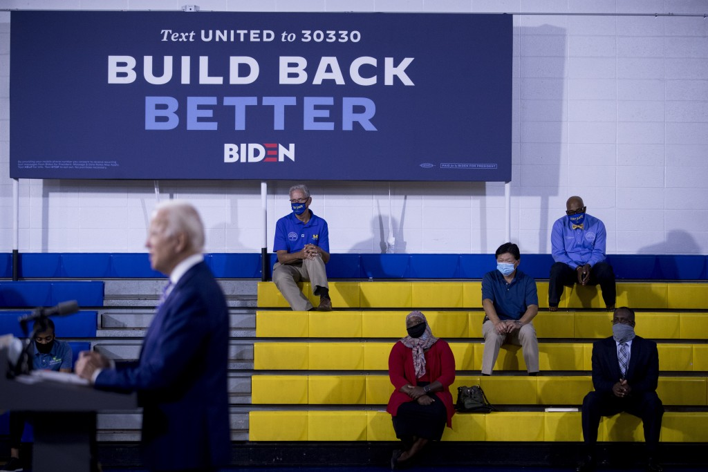 "FILE - In this July 28, 2020, file photo Democratic presidential candidate former Vice President Joe Biden speaks at a campaign event at the William ""..."