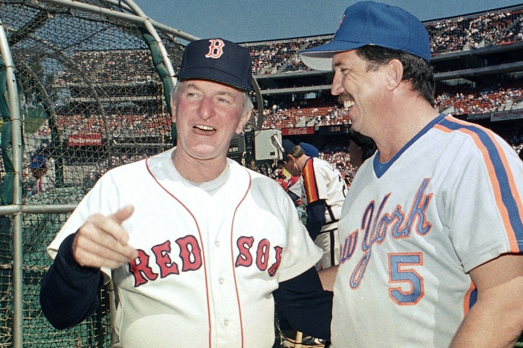 FILE - In this July 13, 1987, file photo, American League All-Star manager John McNamara, left, of the Boston Red Sox, chats with National League coun...