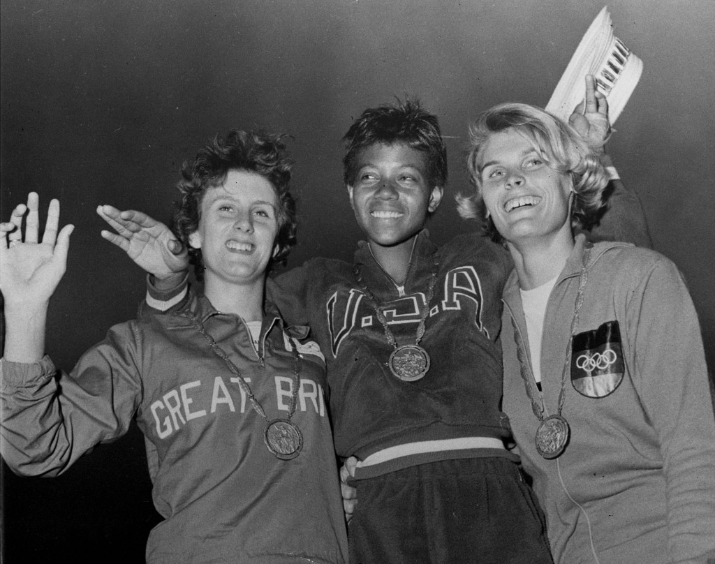 FILE - In this Sept. 5, 1960, file photo, the medalists in the women's 200-meter event, from left, bronze medalist Dorothy Hyman, of Great Britain; go...