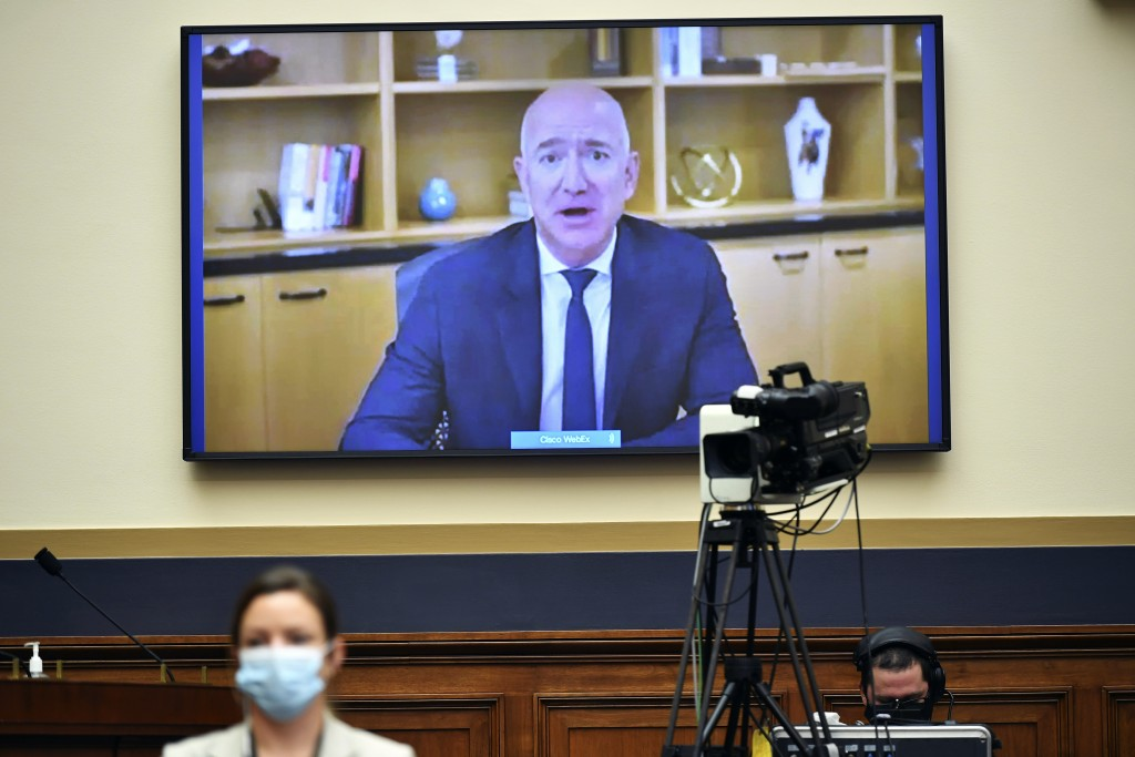 Amazon CEO Jeff Bezos testifies remotely during a House Judiciary subcommittee on antitrust on Capitol Hill on Wednesday, July 29, 2020, in Washington...