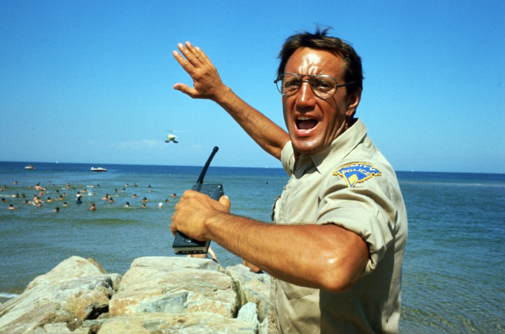 """This image released by Universal Pictures shows Roy Scheider in a scene from the iconic 1975 film """"Jaws."""" With all major new releases postponed until ..."""