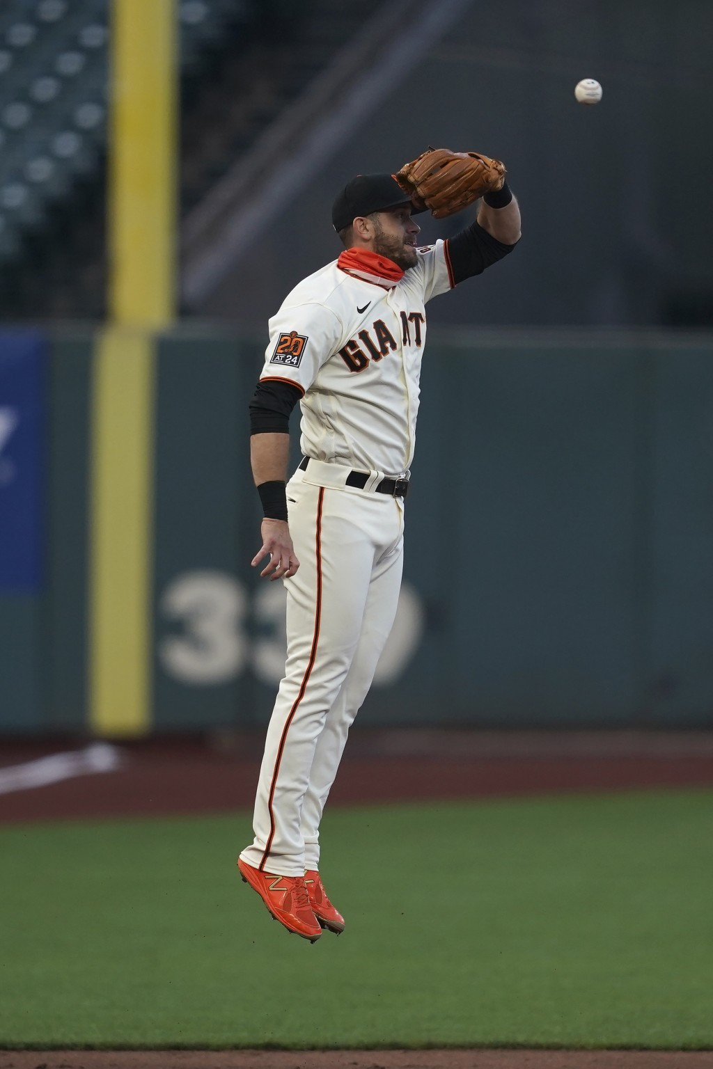 San Francisco Giants third baseman Evan Longoria cannot catch San Diego Padres' Ty France's double during the third inning of a baseball game in San F...