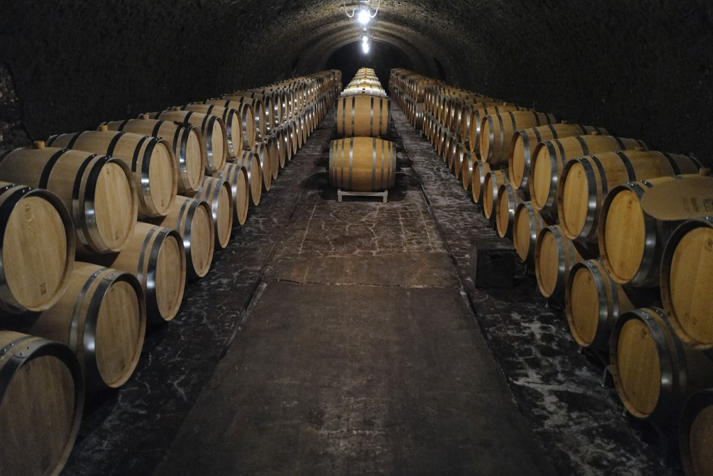 Empty barrels for the next harvest in autumn in the cave of Champagne producer Anselme Selosse in Avize, in the Champagne region, east of Paris, Tuesd...