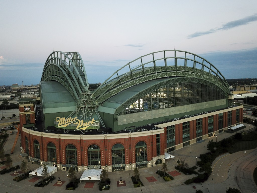 Miller Park is seen Tuesday, July 28, 2020, in Milwaukee. The Milwaukee Brewers are scheduled to host their home opener against the St. Louis Cardinal...