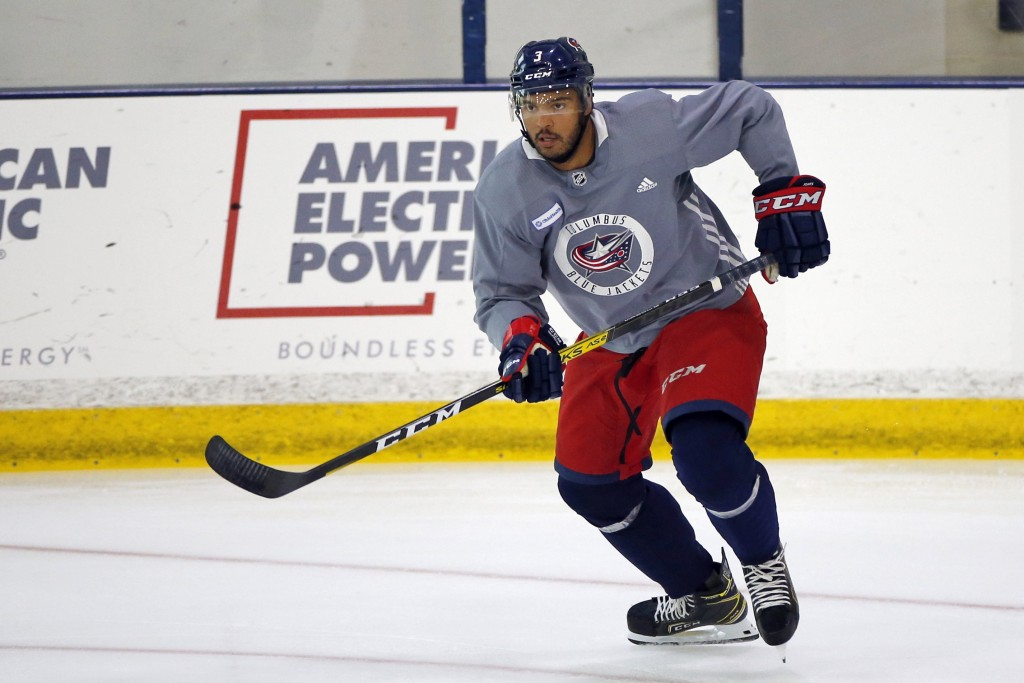 FILE - In this July 20, 2020, file photo, Columbus Blue Jackets' Seth Jones skates  during the NHL hockey team's practice in Columbus, Ohio. Jones, Pi...