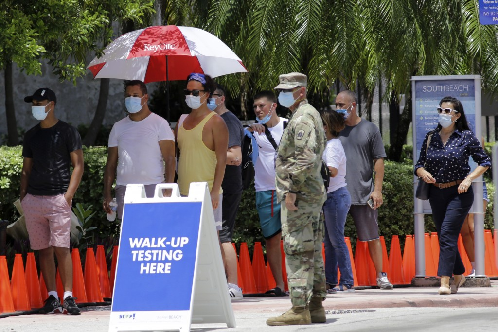 FILE - In this June 30, 2020, file photo, people wait in line at a walk-up testing site for COVID-19 during the new coronavirus pandemic, in Miami Bea...