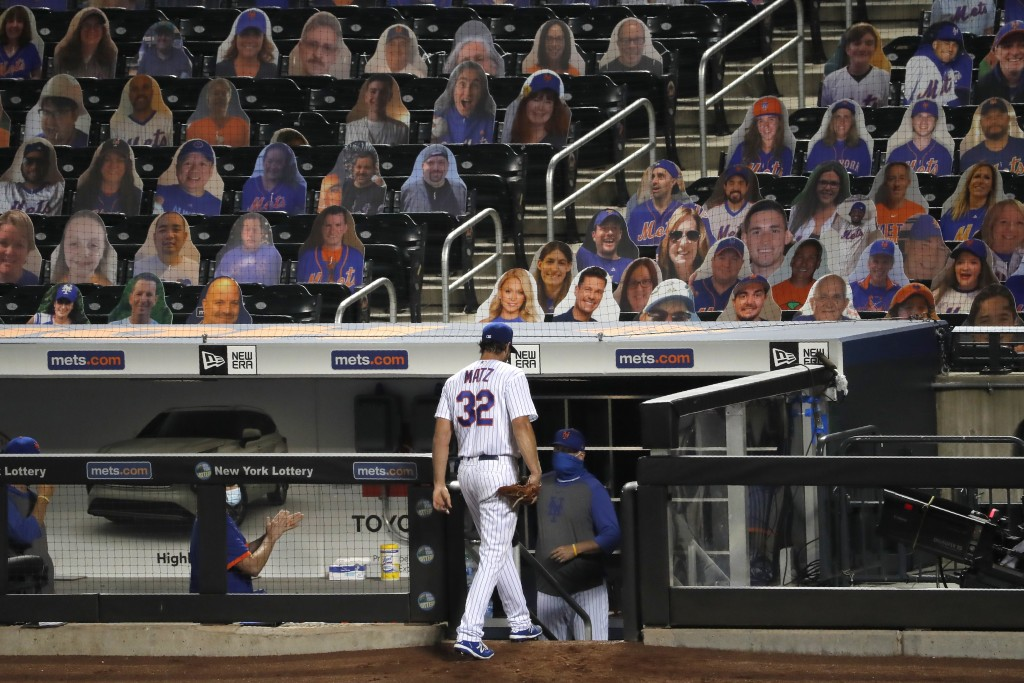 New York Mets starting pitcher Steven Matz leaves the field after being pulled from the game during the sixth inning of the baseball game against the ...