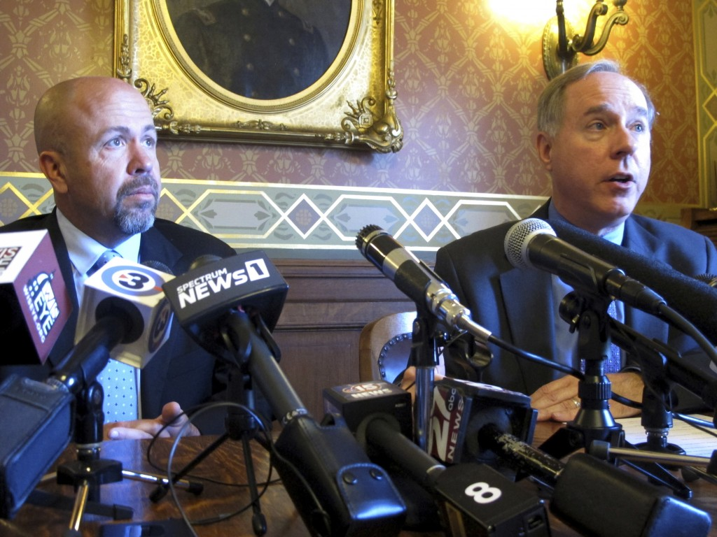 FILE - In this May 15, 2019 file photo, Wisconsin Republican Assembly Speaker Robin Vos, right, and Majority Leader Jim Steineke, left, speak in Madis...