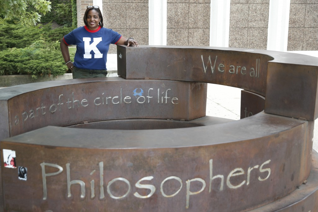 Karen Calloway, principal of Kenwood Academy in Chicago, poses Tuesday, July 28, 2020, for a portrait by the school's Inspirational Circle, designed b...