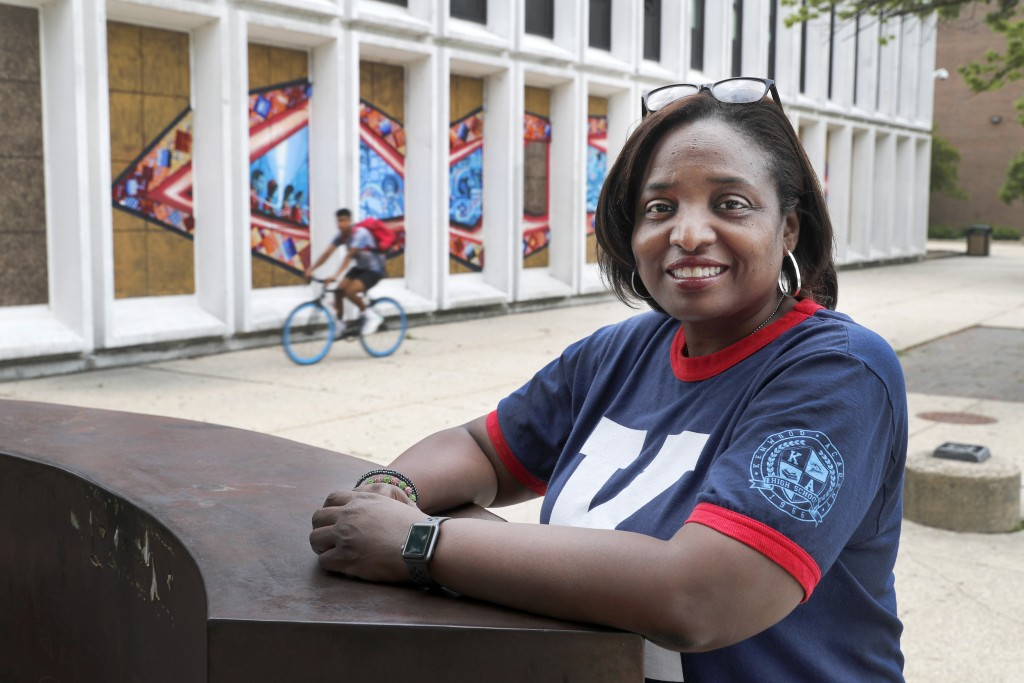 Karen Calloway, principal of Kenwood Academy in Chicago, poses Tuesday, July 28, 2020, for a portrait outside the Hyde Park neighborhood campus. Schoo...