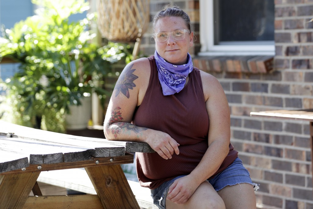 Andrea Larson poses at her home Tuesday, July 28, 2020, in Nashville, Tenn. For Larson, life during the pandemic has taken an unexpectedly good turn. ...