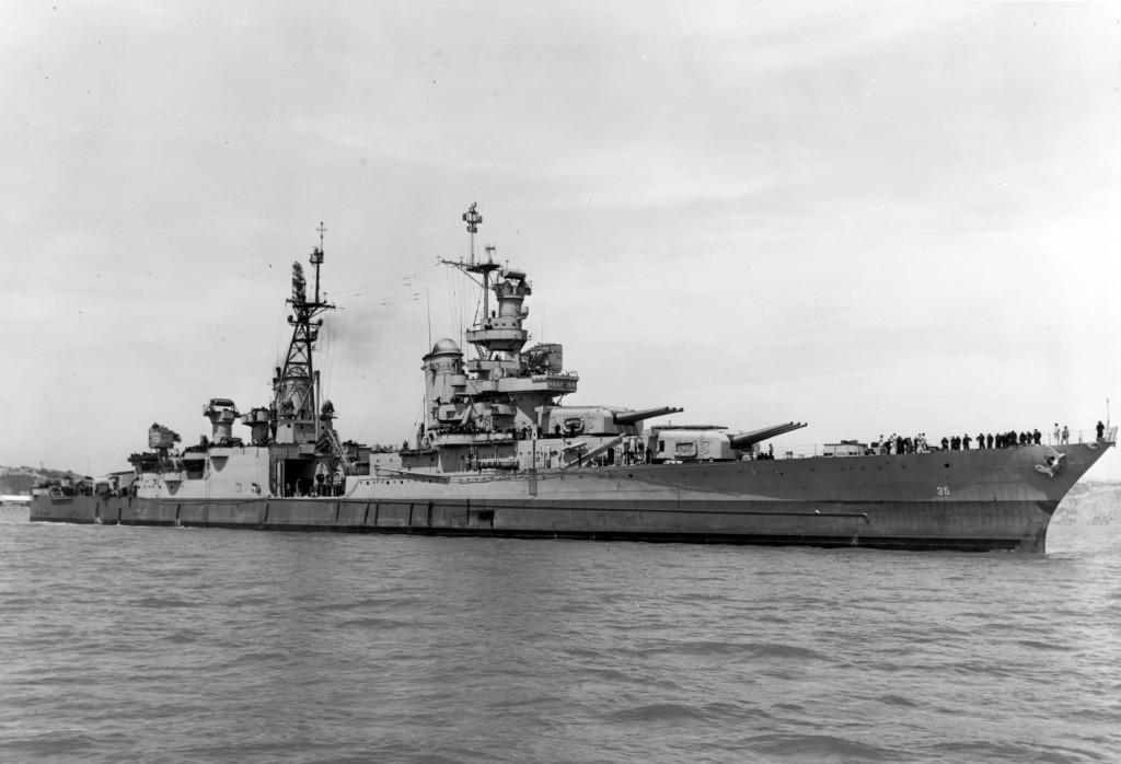 FILE - In this July 10, 1945, photo provided by U.S. Navy media content operations, USS Indianapolis (CA 35) is shown off the Mare Island Navy Yard, i...