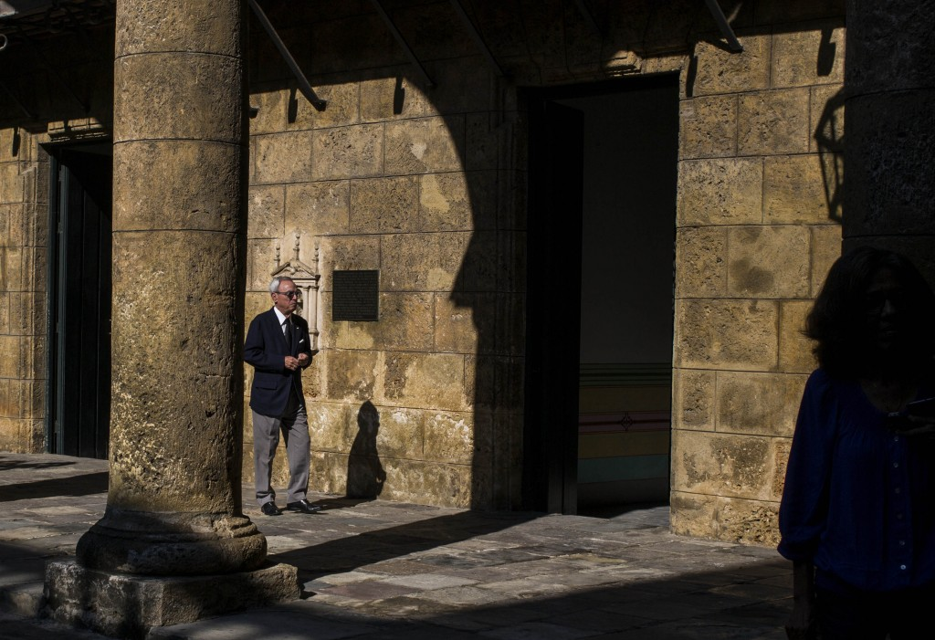 FILE - In this Nov. 23, 2018 file photo, Havana City Historian Eusebio Leal Spengler walks in the courtyard of the City Museum in Havana, Cuba. Leal, ...