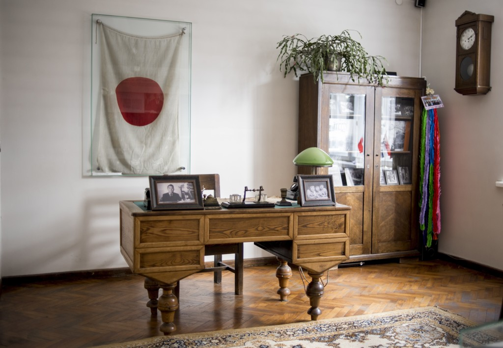 This handout photo provided by Chiune Sugihara Memorial Museum, shows a working room in Chiune Sugihara memorial museum in Kaunas, Lithuania, Tuesday,...