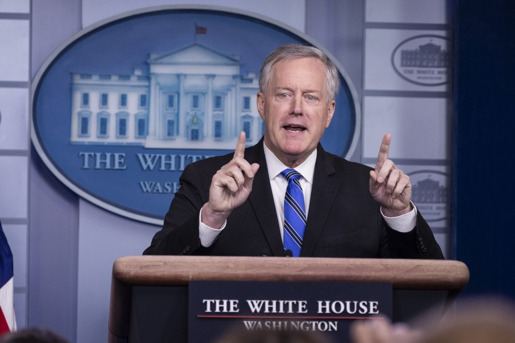 White House Chief of Staff Mark Meadows speaks during a press briefing in the James Brady Press Briefing Room at the White House, Friday, July 31, 202...