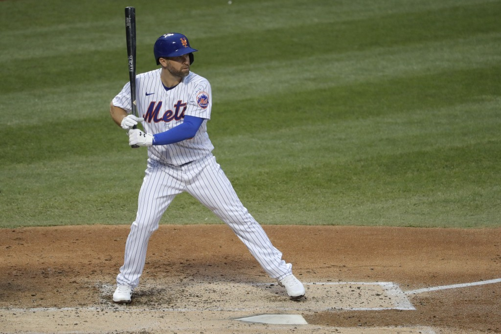 New York Mets' Brian Dozier gets ready for a pitch during the second inning of the baseball game against the Boston Red Sox at Citi Field, Thursday, J...