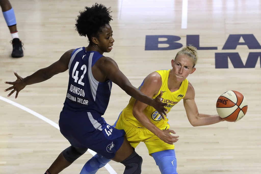 Chicago Sky guard Courtney Vandersloot (22) looks to pass around Minnesota Lynx guard Shenise Johnson (42) during the second half of a WNBA basketball...