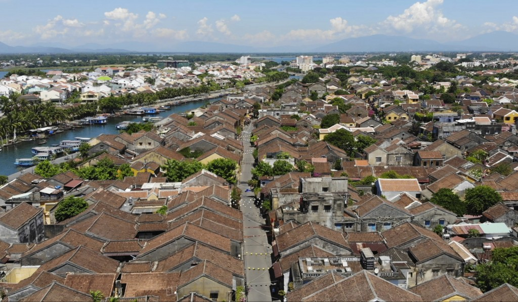 This aerial photo shows quiet streets during social distancing in Hoi An, Vietnam, Friday, July 31, 2020. The old town, Vietnam's top tourist attracti...