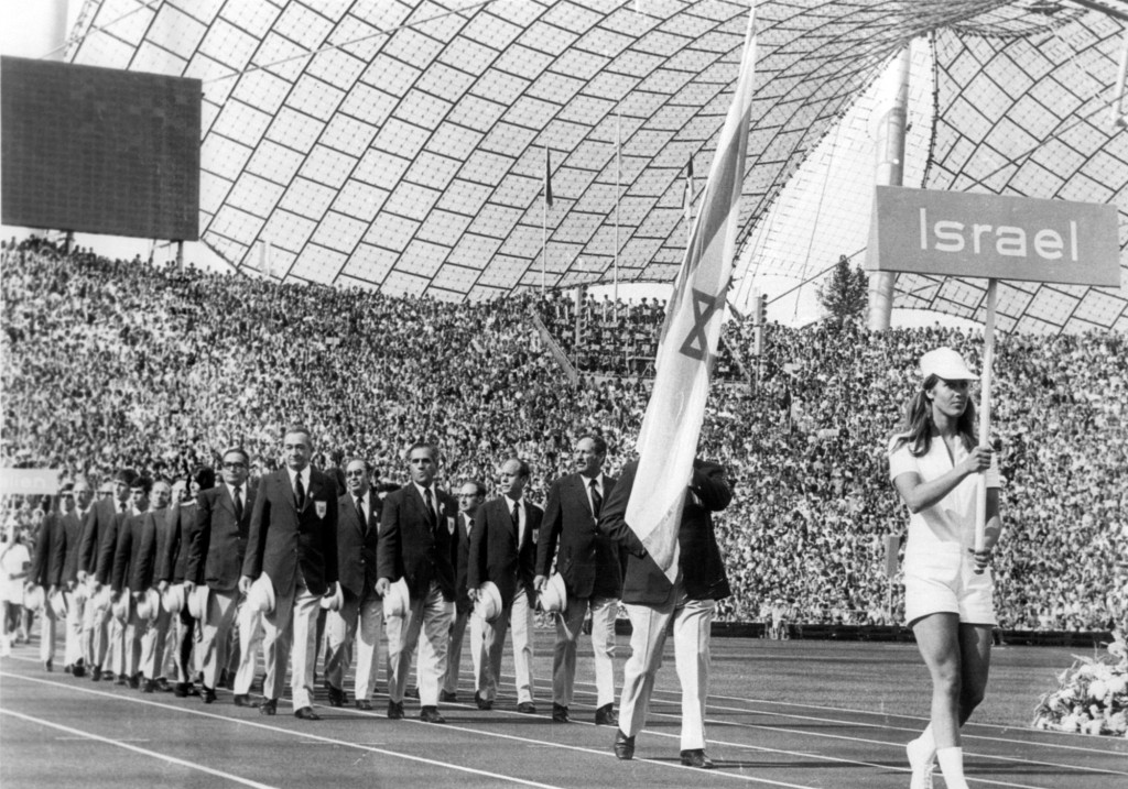 FILE - In this Aug. 26, 1972, file photo, the Israeli Olympic team parades in the Olympic Stadium, Munich, during the opening ceremony of the 1972 Oly...