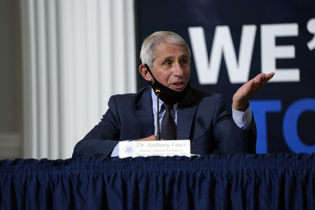 Dr. Anthony Fauci, director of the National Institute of Allergy and Infectious Diseases, speaks during a roundtable on donating plasma at the America...