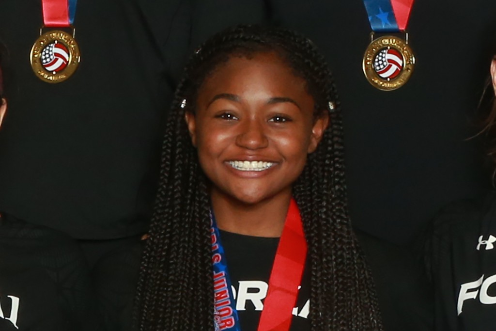 This April 28, 2019, image provided by USA Volleyball shows Amya Small at the USA Volleyball Girls 18s Junior National Championship at the Indiana Con...