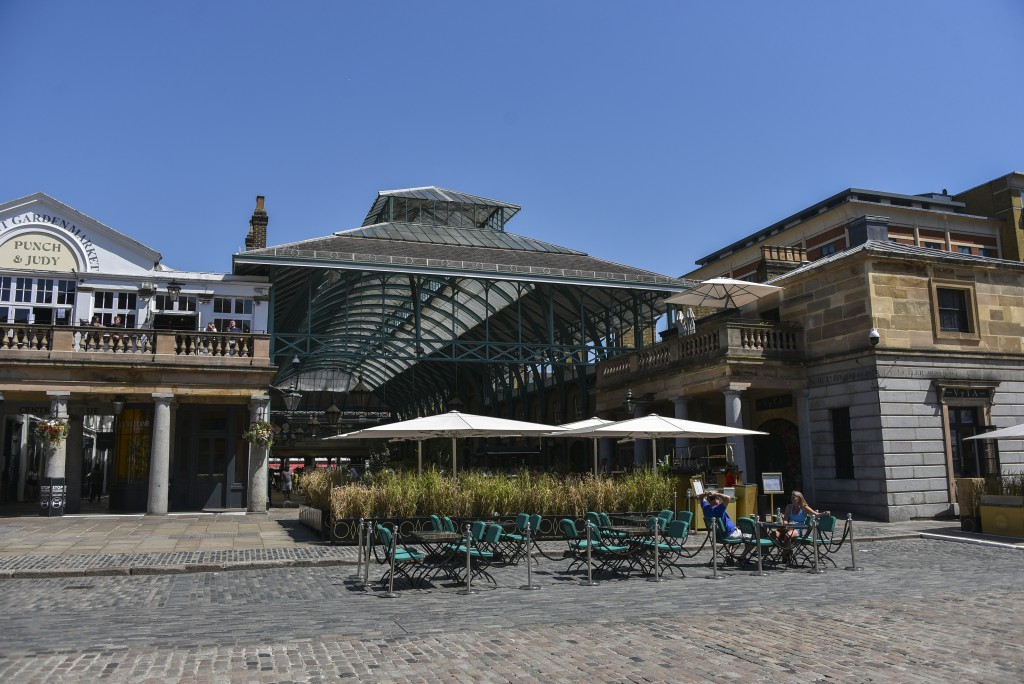 General view of a near empty Covent Garden as many tourist attraction still see a small number of visitors, in London, Friday, July 31, 2020. The Met ...