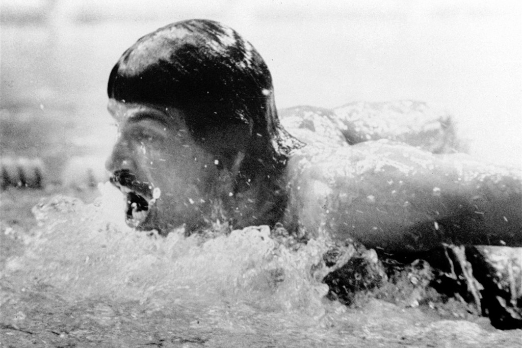 FILE - In this Sept. 4, 1972, file photo, American swimmer, Mark Spitz, competes in the butterfly segment of the 400-meter medley swimming event at th...