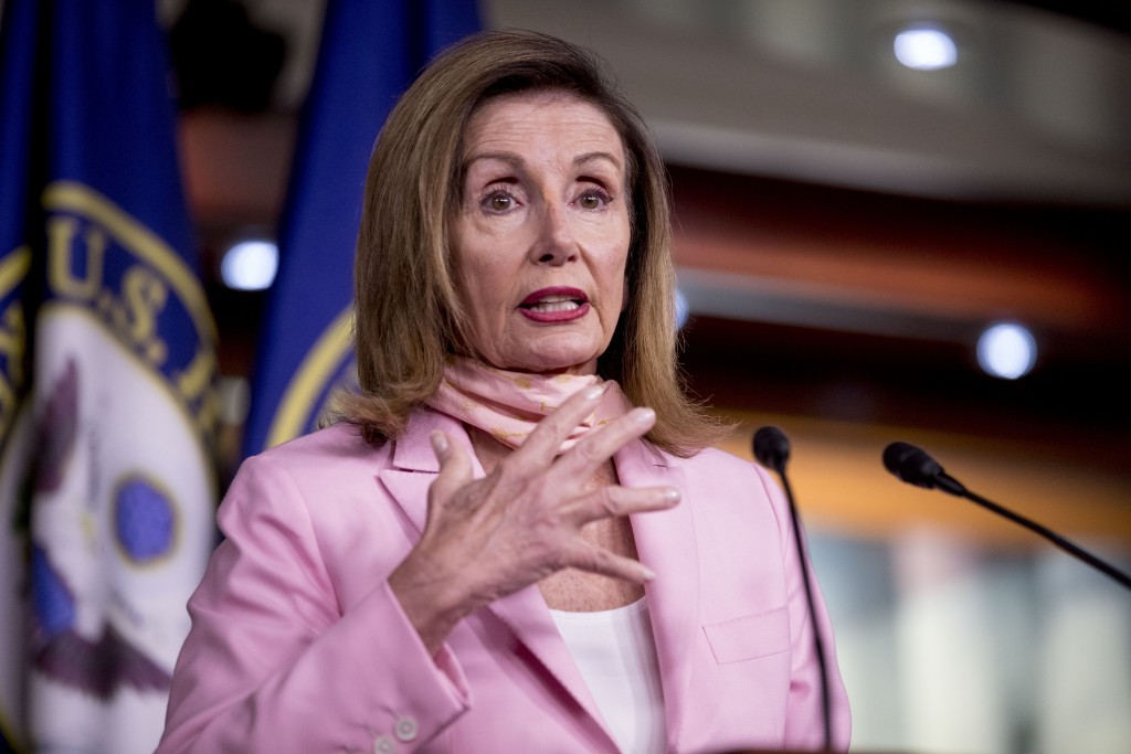 House Speaker Nancy Pelosi of Calif. speaks at a news conference on Capitol Hill in Washington, Friday, July 31, 2020. (AP Photo/Andrew Harnik)