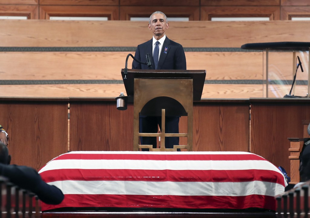 Former President Barack Obama, addresses the service during the funeral for the late Rep. John Lewis, D-Ga., at Ebenezer Baptist Church in Atlanta, Th...