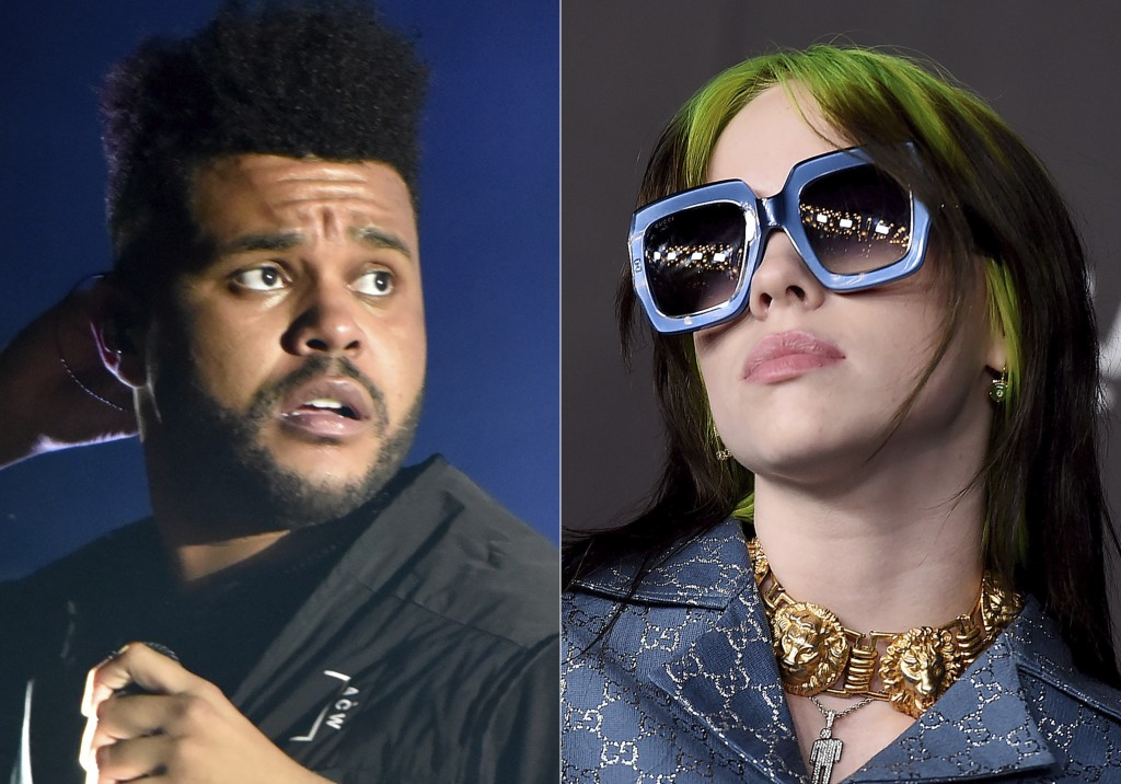 The Weeknd performs at Lollapalooza in Chicago on Aug 4, 2018, left, and Billie Eilish appears at the 2019 LACMA Art and Film Gala in Los Angeles on N...