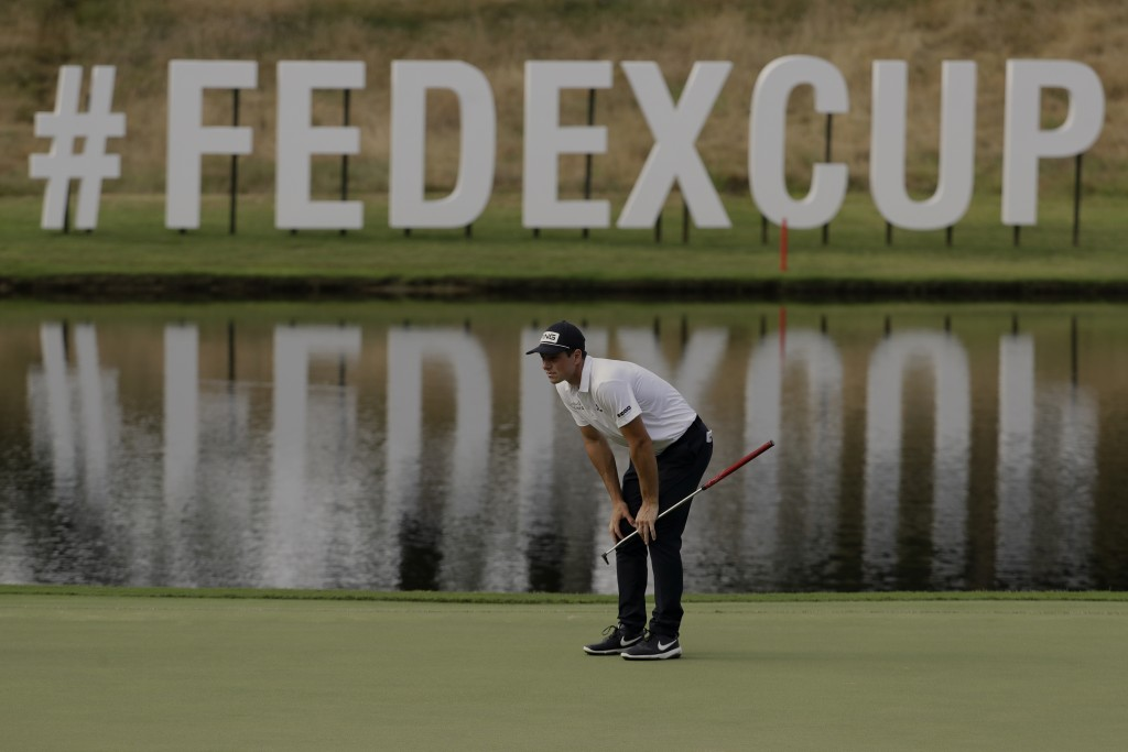 Viktor Hovland of Norway, lines up a putt on the 14th hole during the second round of the World Golf Championship-FedEx St. Jude Invitational Friday, ...