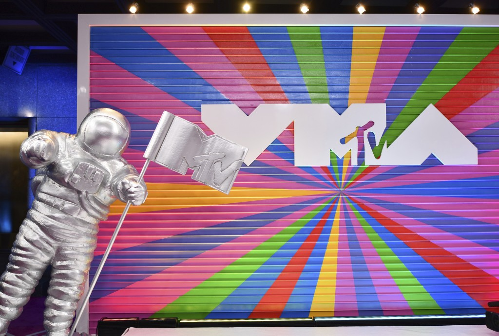 FILE - A statue of the MTV Moon Man appears on the red carpet at the MTV Video Music Awards at Radio City Music Hall on Monday, Aug. 20, 2018, in New ...