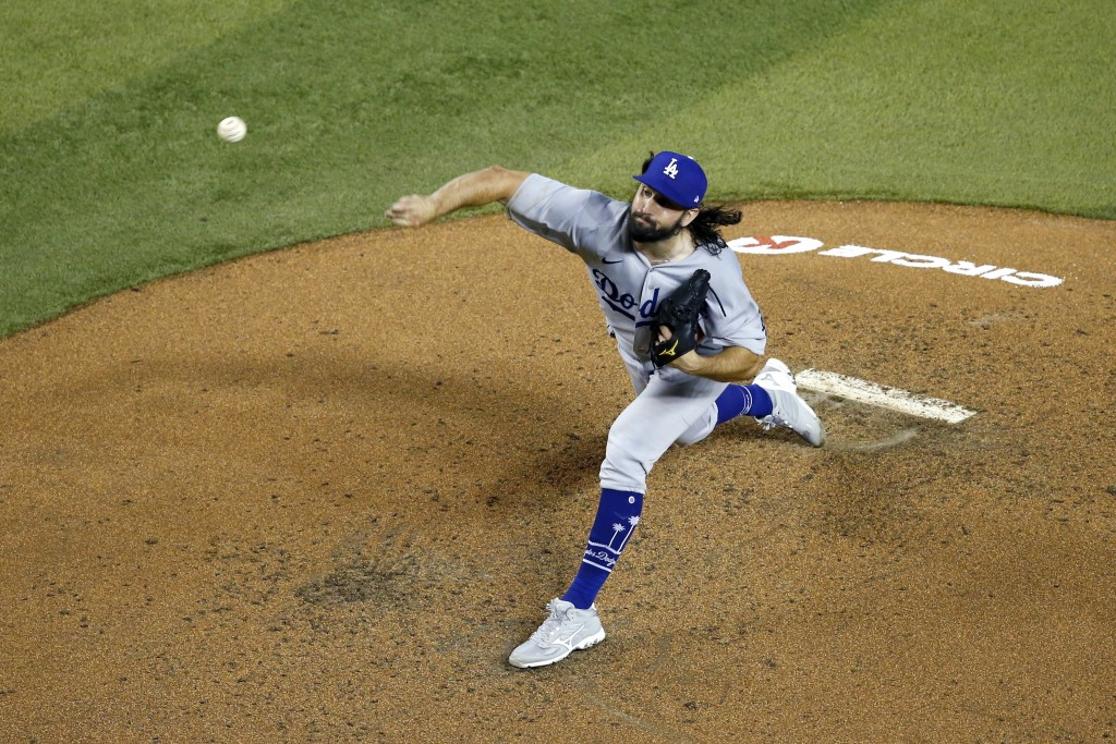 Los Angeles Dodgers starting pitcher Tony Gonsolin throws a pitch against the Arizona Diamondbacks during the fourth inning of a baseball game Friday,...